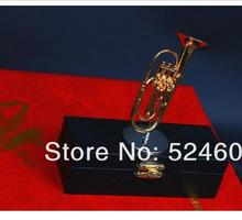Factory direct Nice Brass Mini French Horn Musical Child Gift &case JAZZ Music