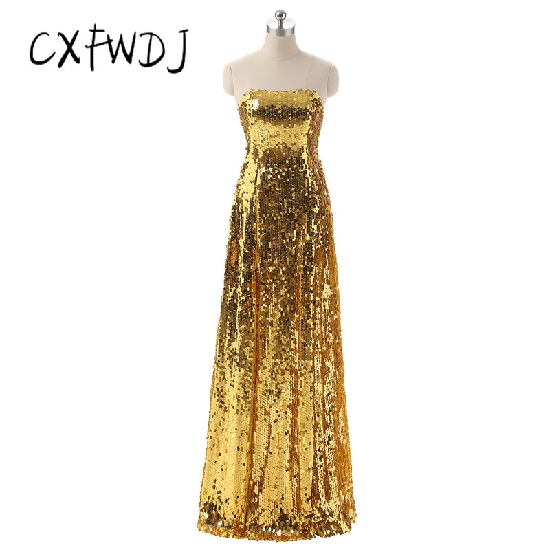 CXFWDJ High Quality Gold Sequins Strapless Sexy Open Back Prom Reception Show Floor length Women's Evening Wear Dresses