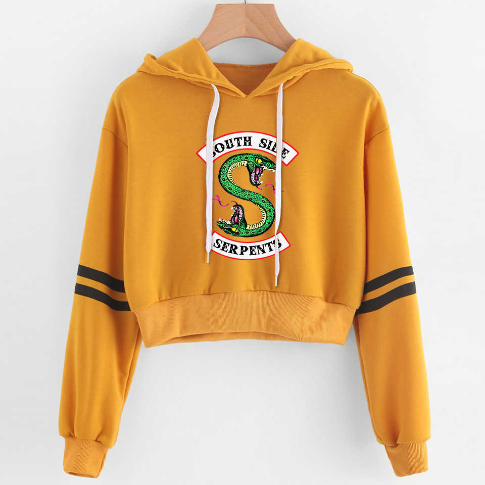 2019 RIVERDALE Southside Women sexy Lovely crop top hoodies Serpent Print harajuku hot sale casual hoodies sweatshirts plus size