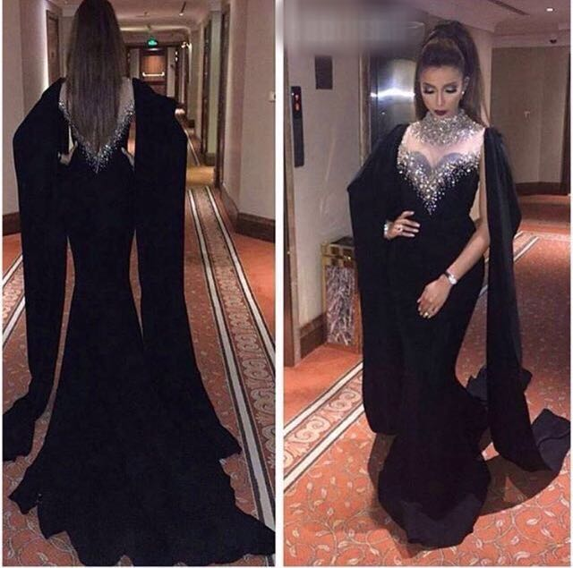 Gorgeous High Neck Sheer Long   Evening     Dresses   2017 Crystal Beaded Black Long Sleeve Mermaid Formal Gown Prom   Dress   Vestidos