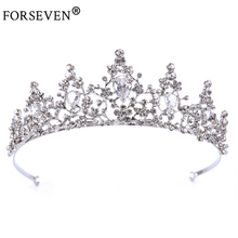 Bride Hair Jewelry Vintage Silver Baroque Rhinestones Crystal Tiara Crown For Wedding Prom Hair Accessories Show Party Gift