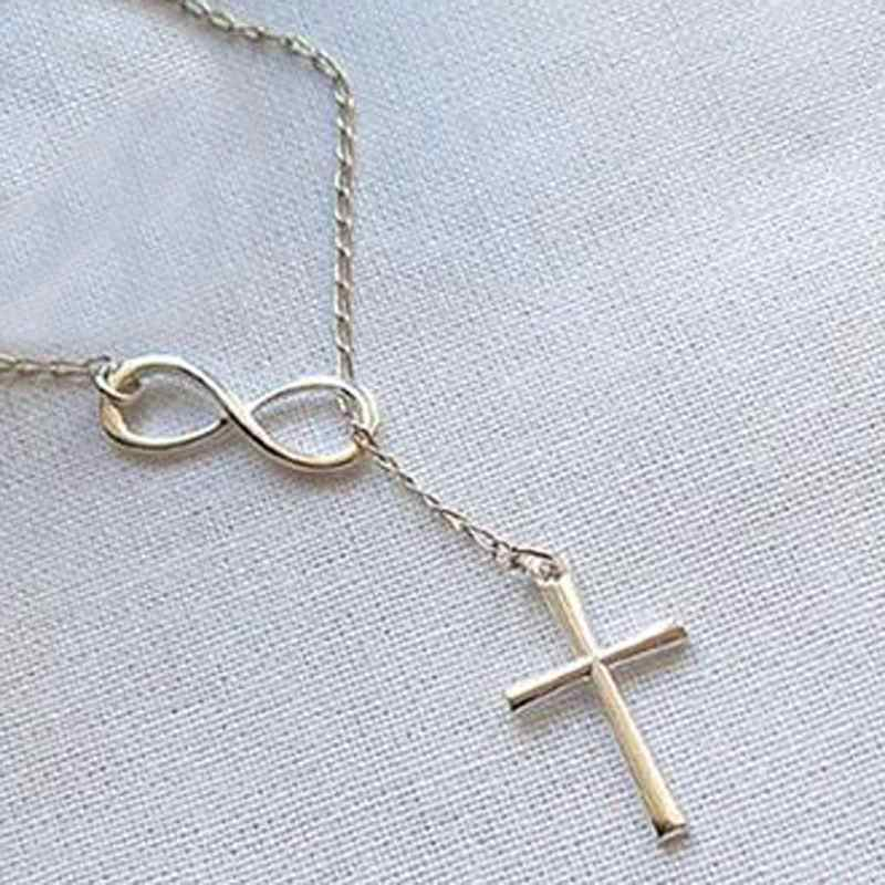 Osobowość Casual Forever Faith naszyjnik posrebrzany krzyż naszyjnik biżuteria nieskończoność kobiety naszyjnik wisiorki