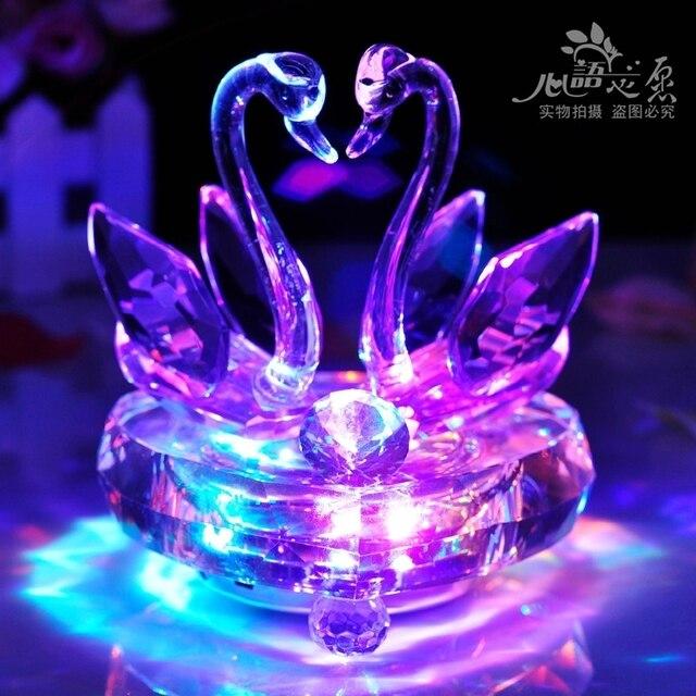 New 2014 Best Seller Crystal Swan Music Box Birthday Gift Girls Wedding Gifts Day