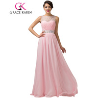 Special Occasion Dresses Women Charming Pink Long Prom Gown Ball Beaded Ruched CL6112