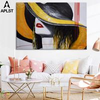 Fashion Women Hand Painted Canvas Oil Painting Sexy Lips Girl Home Decor Posters Wall Art Pictures for Living Room