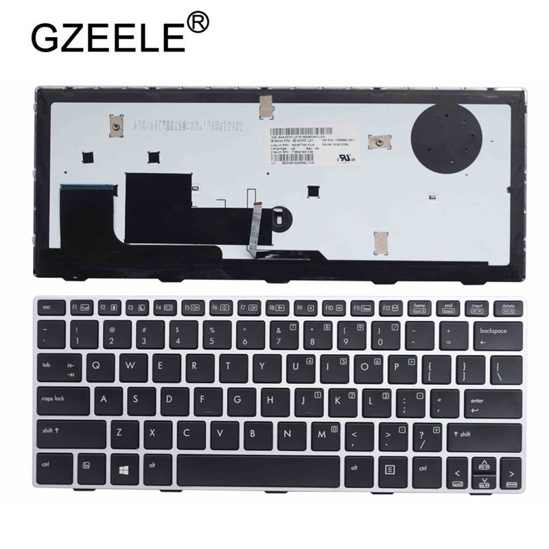 GZEELE US Laptop Keyboard for HP EliteBook Revolve 810 G1 810 G2 810 G3 backlight keyboard D7Y87PA 706960 001 US Keyboard SILVER|Replacement Keyboards| |  - title=