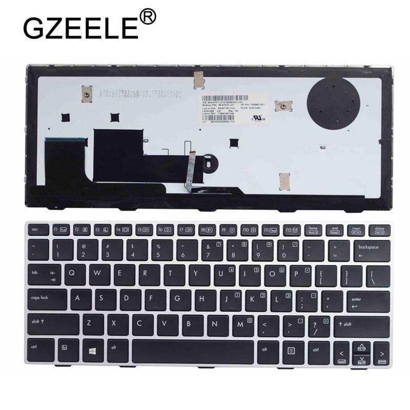 GZEELE US Laptop Keyboard For HP EliteBook Revolve 810 G1 810 G2 810 G3 Backlight Keyboard D7Y87PA 706960-001 US Keyboard SILVER