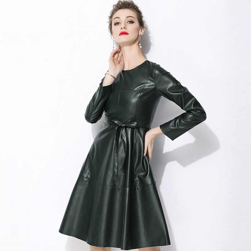 LXMSTH Faux Leather Dress Women Elegant Womens PU Leather Dresses With Belt  Spring 2019 Plus Size Slim Casual Dress Blue Green