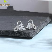 Flyleaf  Luxury Zircon Bow Stud Earrings For Women 925 Sterling Silver Student Girl Fashion Jewelry Brinco