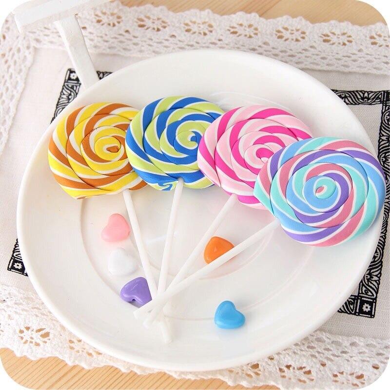 Candy Colorful Lollipop Pencil Eraser Fantastic Study School Item Office School Stationery Cartoon Immitation Color Sugar Eraser