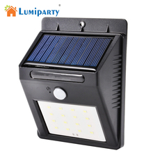 Lumiparty 16 LED Waterproof IP65 Solar Powered Wireless PIR Motion Sensor Light