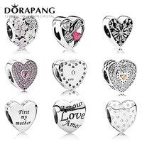 DORAPANG 100 Genuine 925 Sterling Silver Heart Shape Charm Bead Handsel Love Gifts Fit Bracelet DIY