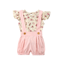 Baby 2Pcs Summer Floral Clothes Set Toddler Baby Kids Girls Flower Tops Bib Shorts Overalls Outfits Clothes 0-4T 2019