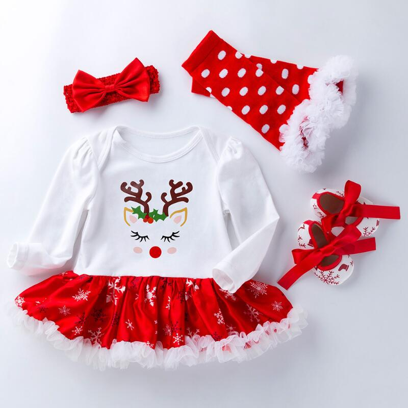 US Newborn Baby Girl Christmas Romper Tops Tutu Short Pants Headband Outfits Set