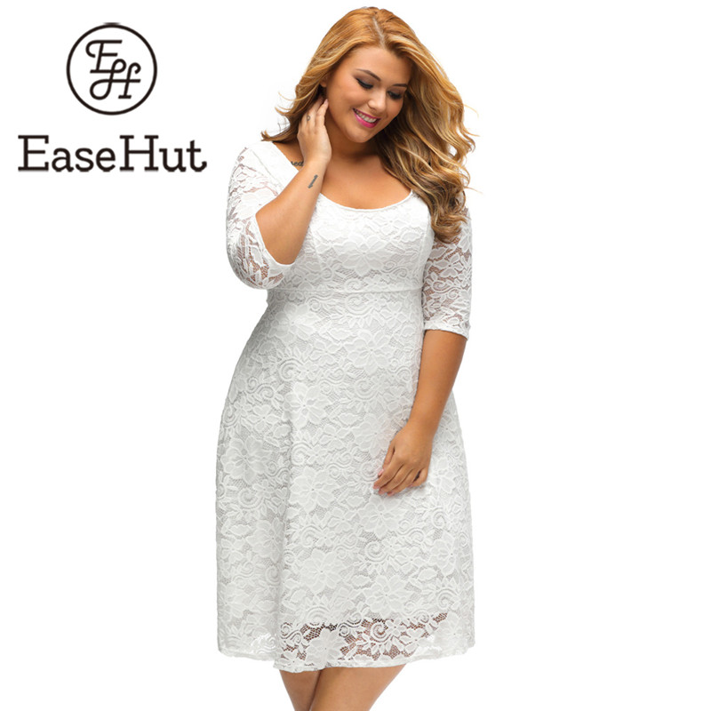EaseHut 2019 Elegant Women Large Size XL-<font><b>5XL</b></font> Party Lace Dresses White Floral Lace Sleeved High Waist Midi Dress Vestidos <font><b>Mujer</b></font> image