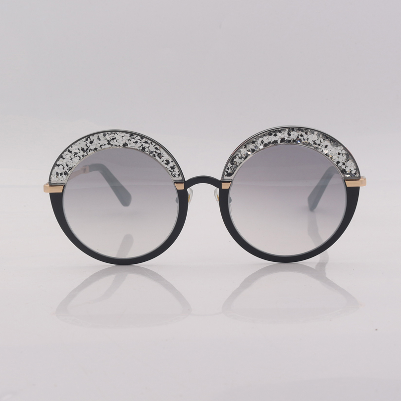 High quality round frame women sunglasses with silver mirrored lens