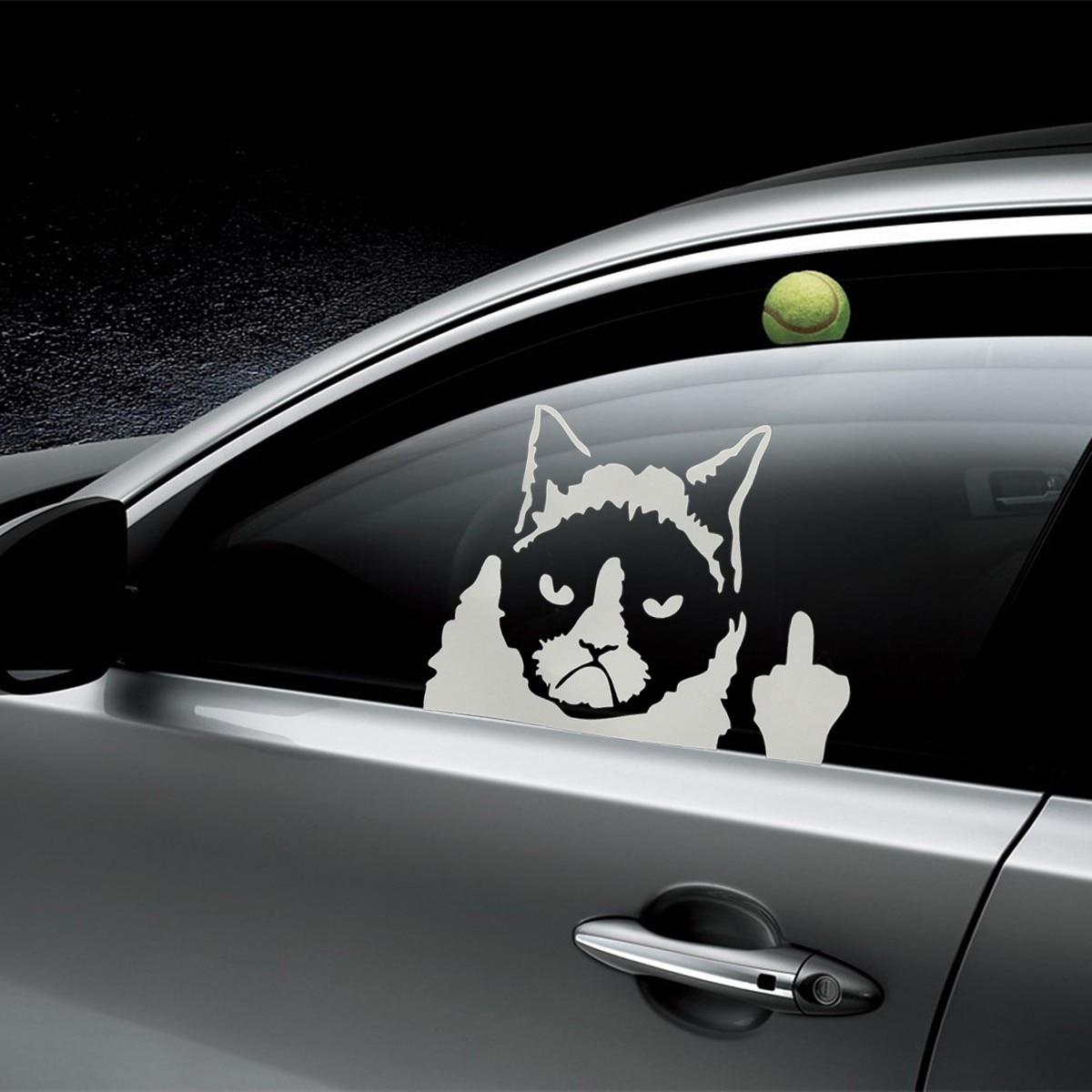 Car bumper sticker designs - Wholesale Cheap Personalized Vinyl Removable 3d Wall Sticker Funny Grumpy Cat Decor For Auto Car Bumper Window Wall Decal Murals