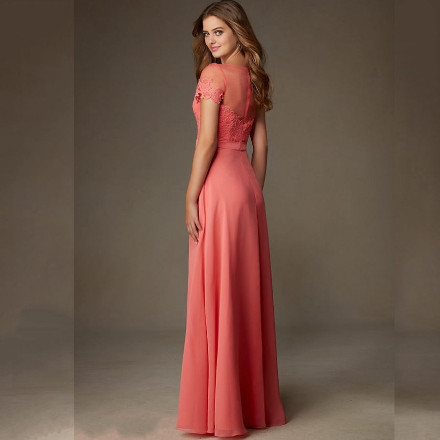 Elegant Wedding Party Long Gowns Lace Cheap Plus Size Coral Colored