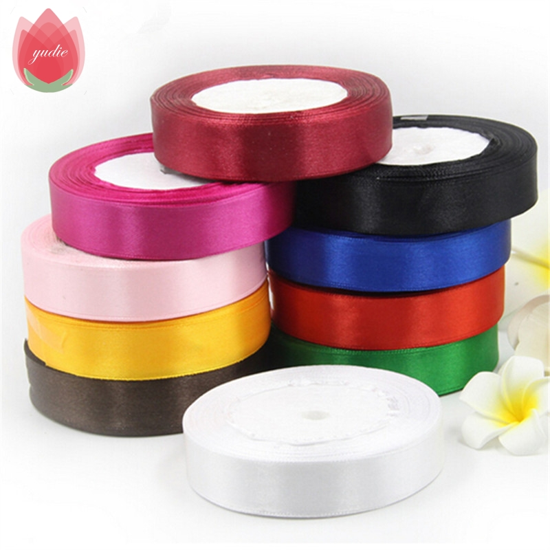 DIY Toy üçün Pambıq 25mm 25 Yard İpək Saten Organza Polyester lent