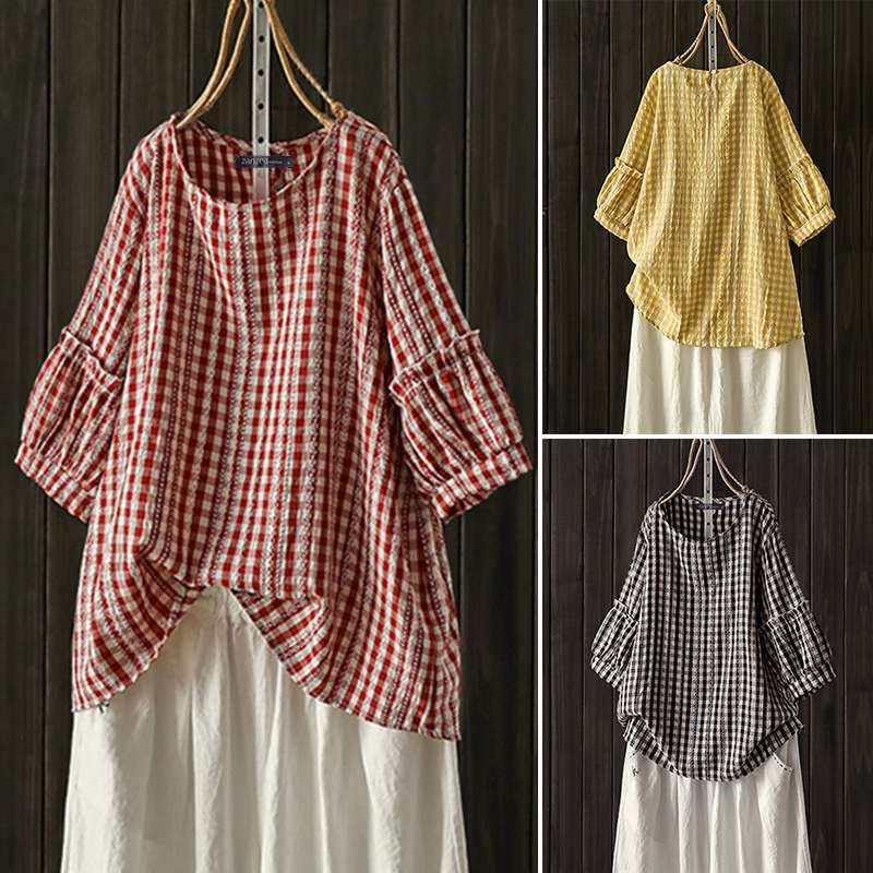 Women Blouses Shirts Casual Loose Plaid Check Lantern Half Sleeve Blusas 2020 ZANZEA Ladies Elegant Work Tunic Tops Plus Size