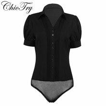 Для женщин и девочек, деловая работа, цельный отложной воротник, спереди, с рюшами, на пуговицах, Повседневная офисная блузка вечерние, для свиданий, боди, блузка