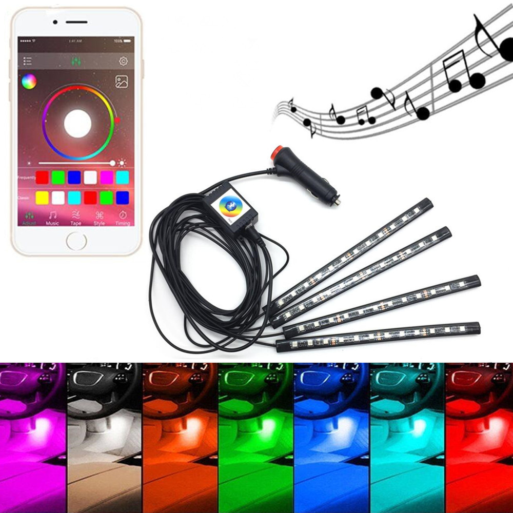 Bluetooth Phone Control Car Strip Light Flexible Atmosphere Lamp Kit Foot Android IOS APP Cigarette With RGB Controller