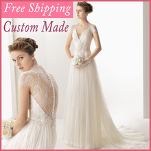 2015 Vintage Sexy Free Shipping Simple White Beach Wedding Guest Dresses Empire A-Line V-Neck Bride Dress Custom Made Tull MH222