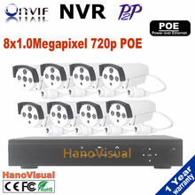 8CH 720P PoE NVR kit HD Security Camera System with 8pcs Indoor/ Outdoor Night Vision 720P waterproof outdoor cctv ip Cameras