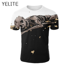 YELITE 2019 Fashion New Skull Smile T Shirt Men Print T-shirt Summer Casual TShirt for Mens Short Sleeve Beach Tops streetwear