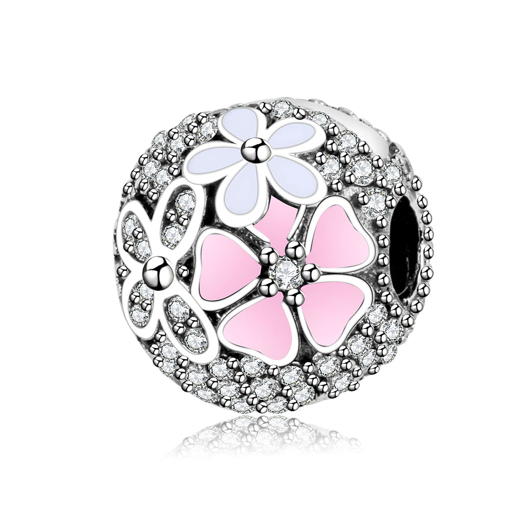 Fit Pandora Charm Bracelets 2017 Spring Clip Flower Beads Original 925 Sterling silver Charms with Cubic Zirconia DIY Berloque