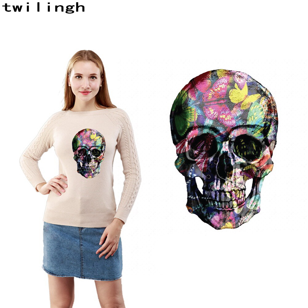 wholesale patches skull design 3d printed transfer image iron on jacket t-shirt colorful sticker handmade to sweater DIY patch