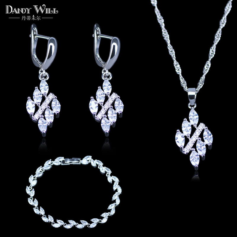 Fashion Women Costume Jewelry Square White Crystal Cubic Zirconia 925 Stamp Silver Color Pendant/Leaf Bracelets/Earring Sets