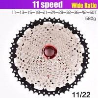 Bicycle flywheel 11S 11 40 42 46 50T card type MTB MoutainBike 11 speed flywheel sprocket bicycle parts width ratio For SHIMANO