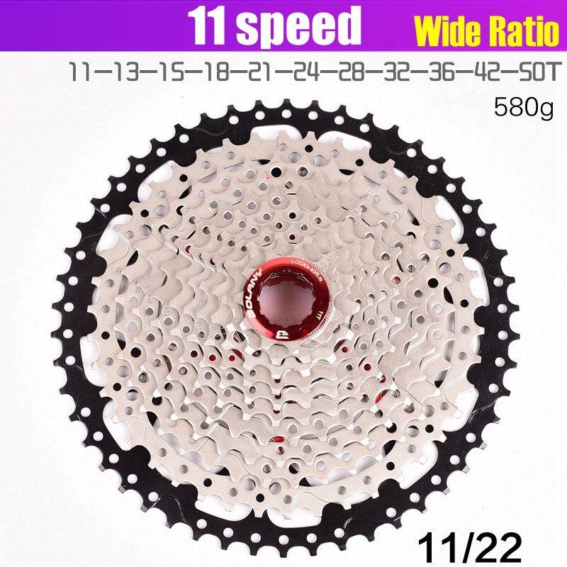 Volant de vélo 11 S 11-40 42 46 50 T type de carte vtt vélo de montagne 11 vitesses pignon pignon pièces de vélo rapport de largeur pour SHIMANO