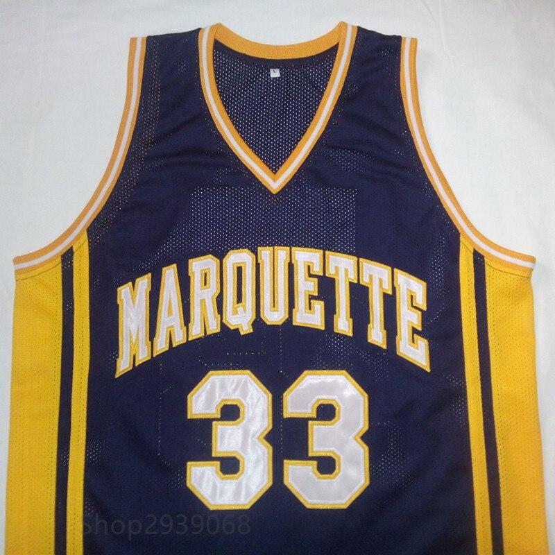 Prix pour JIMMY BUTLER L'université Marquette Marine Bleu Blanc Basket-Ball Jersey Broderie Piqué Personnaliser n'importe quelle taille et nom