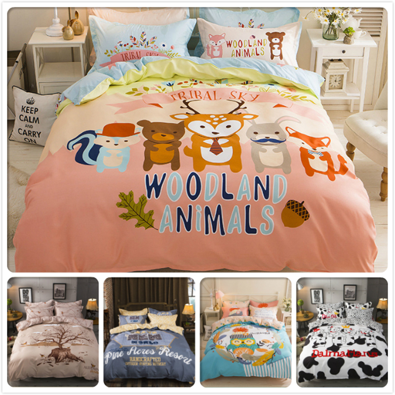 Power Source Woodland Animal Print Kids Single Bedding Set 3/4 Pcs Bedlinens 1.5m 1.8m 2m Flat Sheet Bed Linens Double Queen King Duvet Cover Modern And Elegant In Fashion