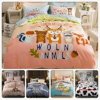 Woodland Animal Print Kids Single Bedding Set 3/4 pcs Bedlinens 1.5m 1.8m 2m Flat Sheet Bed Linens Double Queen King Duvet Cover