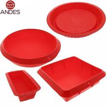 4Pcs Bakeware Set - Baking Molds - Nonstick Silicone Bakeware with Round, Square,and Rectangular Pans for Pies,Cakes,Loaf,More