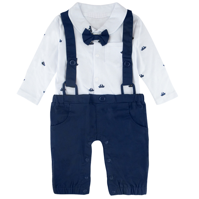 ea0bc6c6f1e1 Baby Boys Gentleman Romper Boat Shirt Strap Playsuit Cool Boy Birthday  Wedding Party Costume with Bowtie