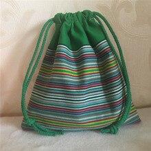 Multi- Purpose Cotton Striped Drawstring Bag
