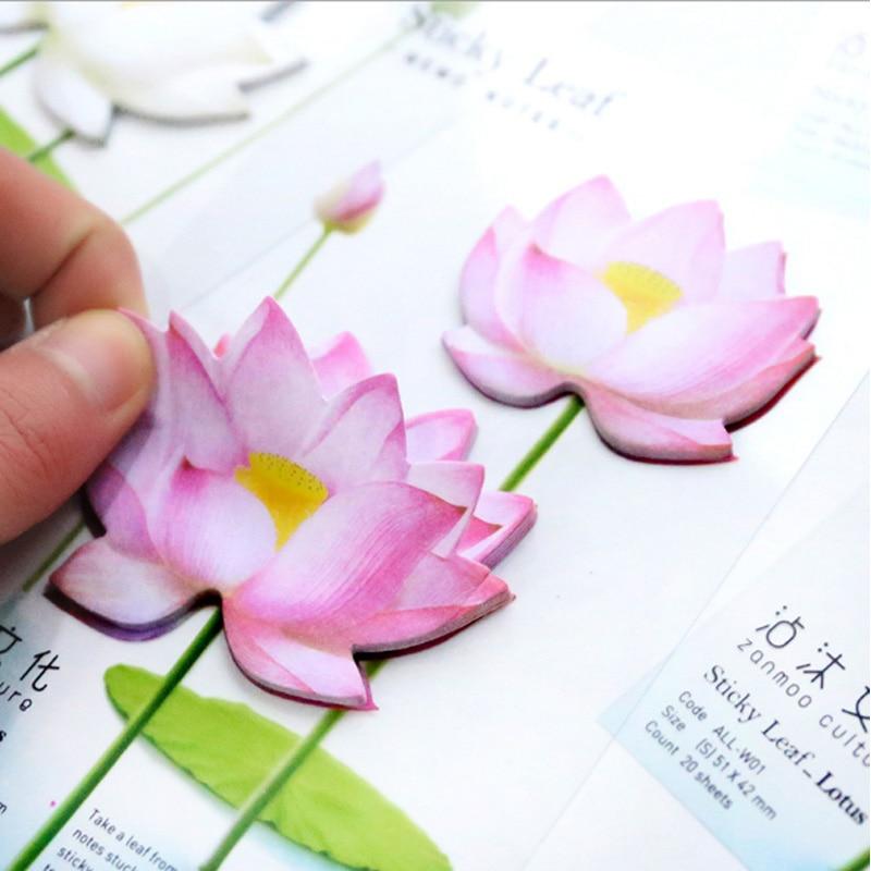 1 stks / partij Leuke Romantische lotus N-plakken Memo Pad Sticky - Notitieblokken en schrijfblokken bedrukken - Foto 2