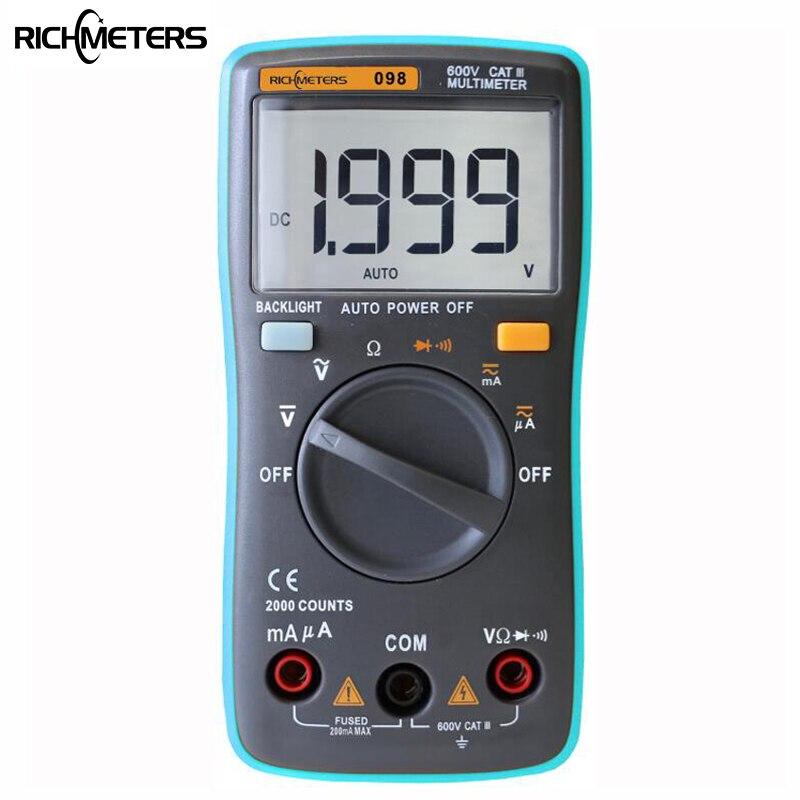 RICHMETERS RM098 Digital-Multimeter 2000 zählt Zurück licht AC/DC Amperemeter spannung meter Voltmeter Ohm Tragbare Meter