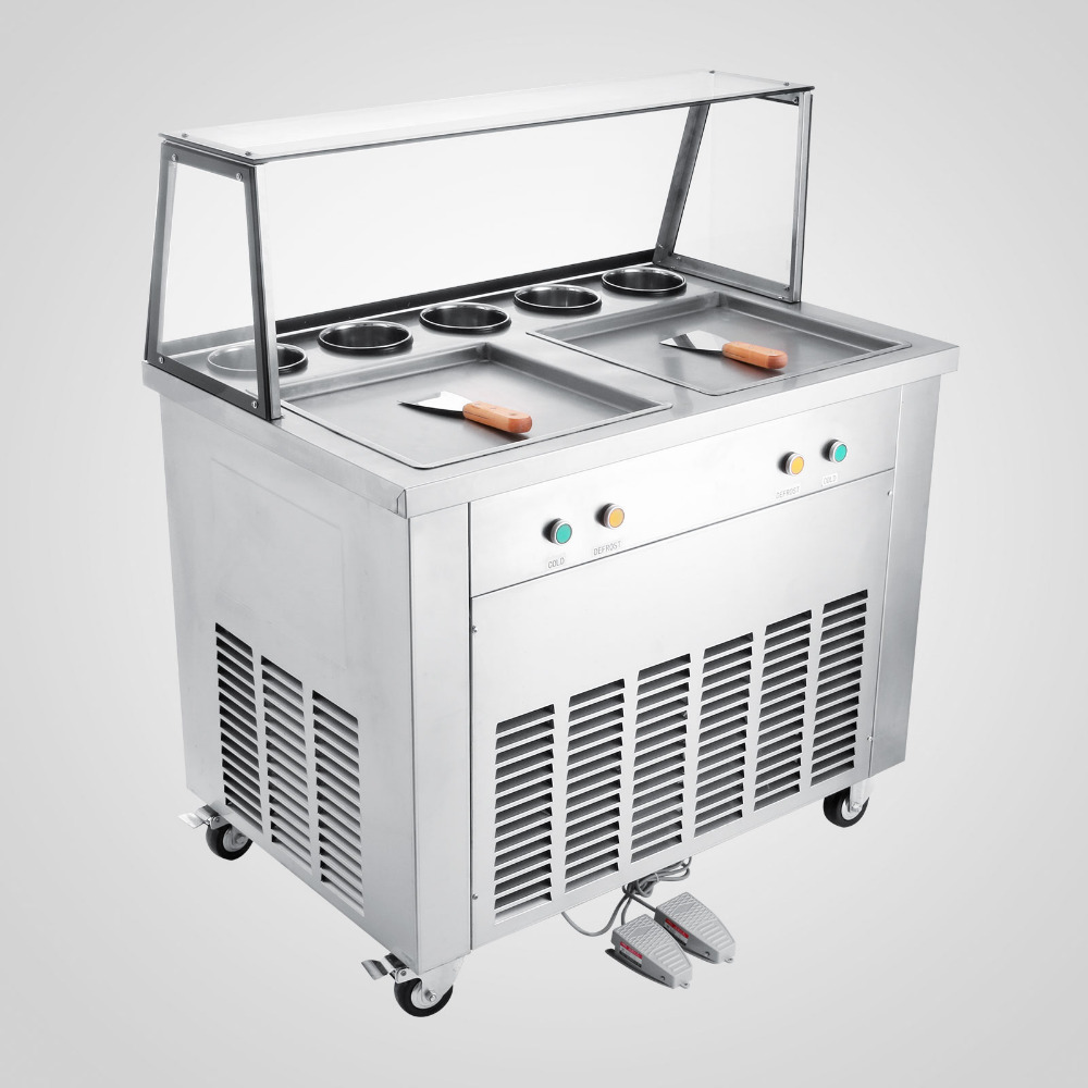 High Quality Hot Selling Fried Ice Cream Machine For Yogurt 2-Pan 5 Buckets Ice Cream Roll Maker With Service