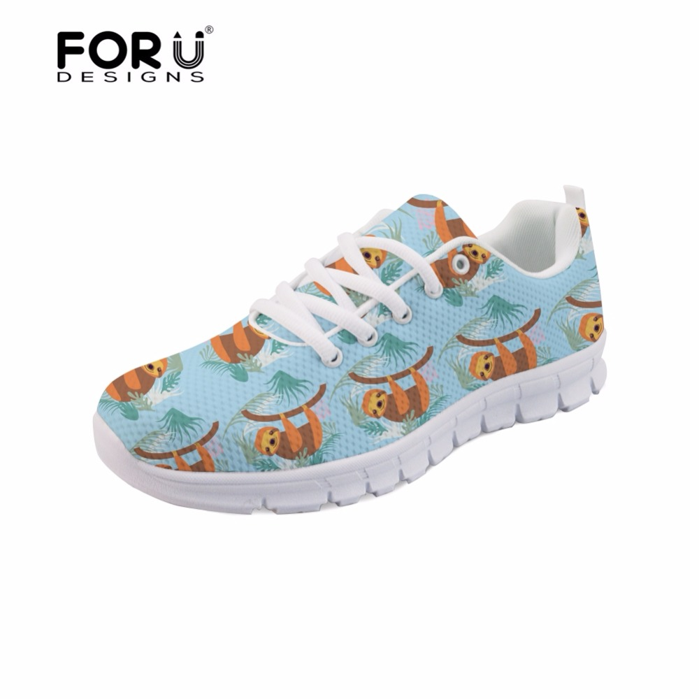 FORUDESIGNS Animal Cute Sloth Printed Fashion Girls Casual Flats Shoes Sneakers Brand Designer Female Leisure Light Shoes Women instantarts fashion girls spring autumn flats shoes cute havanese flower pattern female mesh flats shoes casual light sneakers