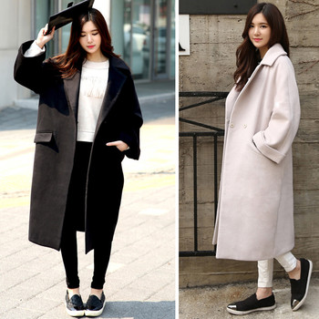 Cocoon Coats Long Jacket Female Winter Woolen Coat Women Loose Thicken Cashmere Wool Coat Large Size Winter Jacket Parka C2678