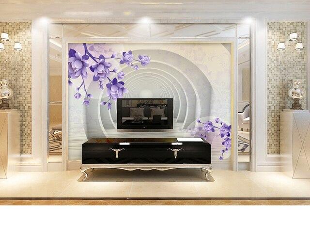 Behang Paars Slaapkamer : Aanpassen 3d paars jade orchidee abstract behang voor muur 3d