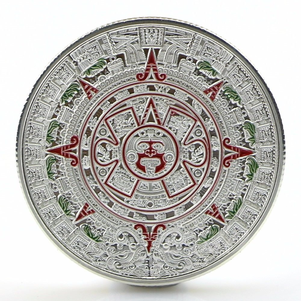 1x Gold Sliver Plated Mayan Aztec Prophecy Calendar Commemorative Coin Art Collection Gift