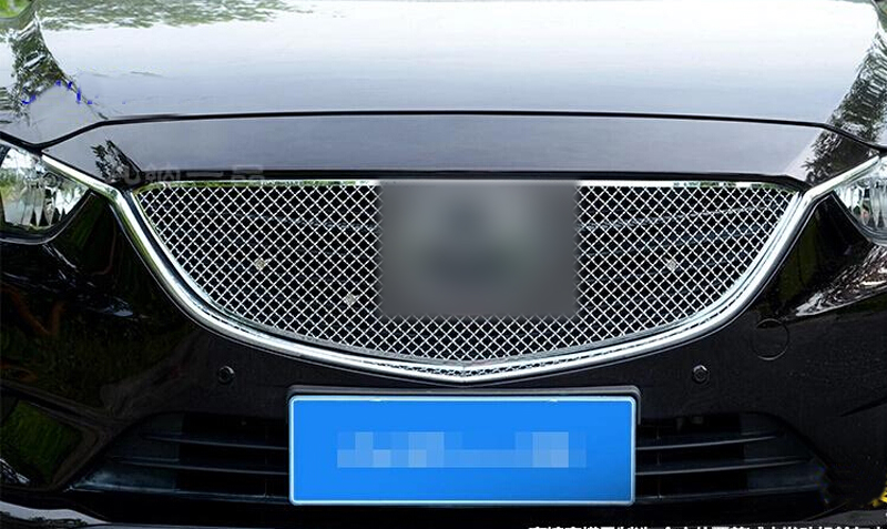Stainless Front Center Grille Grill Cover Trim Exterior Chromium Styling Parts 1pcs For Mazda 6 M6 Atenza 2013 2014 2015 chrome front hood grill cover trim for 2014 2015 mazda 6 atenza