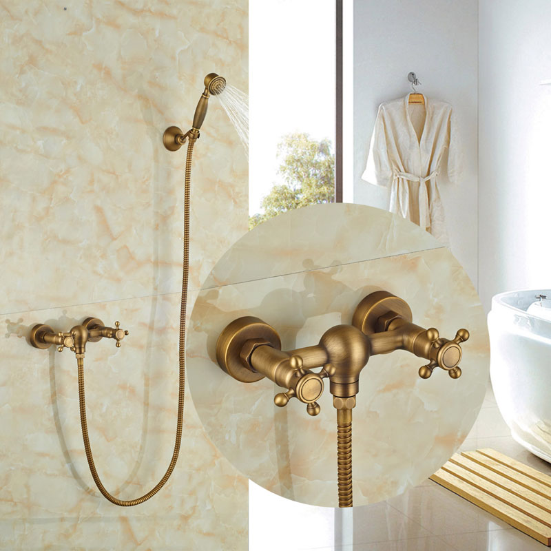 Wall Mounted Antique Barss Tub Faucet Bath Shower Jet W/Hand Shower Tap Hot&Cold Faucet Luxury luxury single lever bath tub shower set wall mounted shower faucet hot
