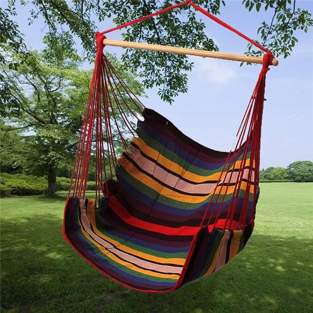 SGODDE Garden Patio Porch Hanging Cotton Rope Swing Chair Seat Hammock  Swinging Wood Outdoor Indoor Swing Seat Chair Hot Sale